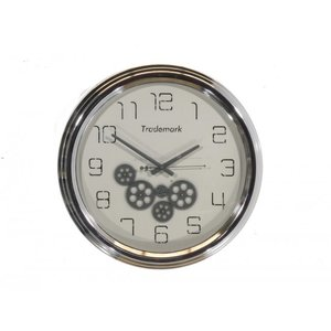 Clock with gears Shiny silver 53cm