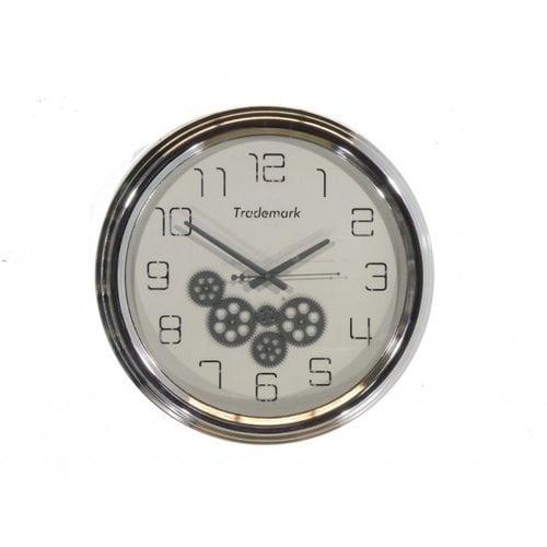 Uhr mit Zahnrädern Glänzendes Silber 53cm