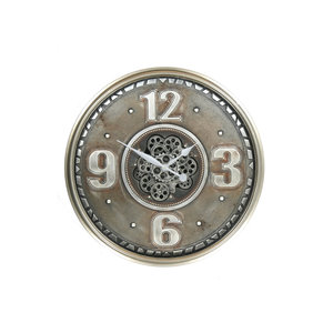 Clock with gears old silver 60 cm
