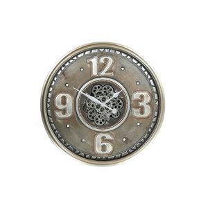 Uhr mit Zahnrädern altes Silber 60 cm