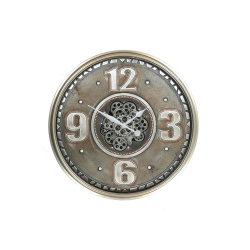 Klok met tandwielen oud zilver 60cm