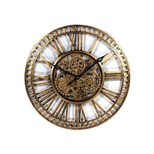 Clock open gears antique gold
