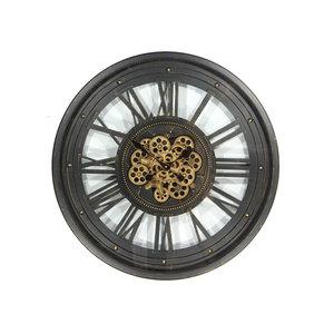 Uhr mit Zahnrädern Offen schwarz 80cm
