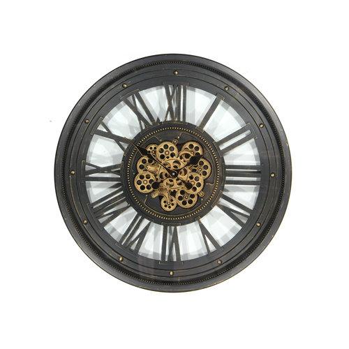 Klok met tandwielen Open  zwart 80cm