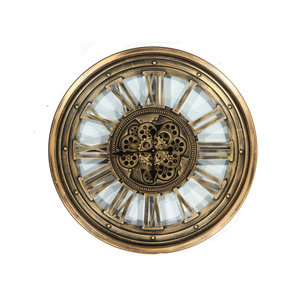 Clock with gears Antique gold 80cm