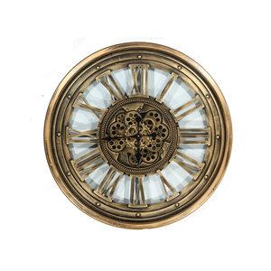 Klok met tandwielen Antiek goud 80cm