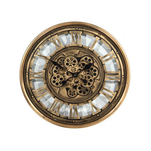 Klok met tandwielen  Antiek gold