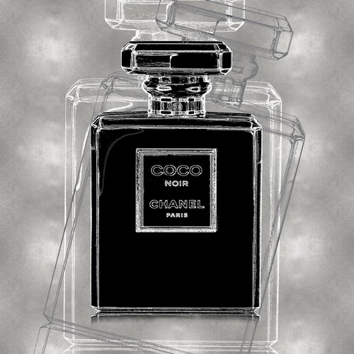 Glasschilderij Coco Chanel Zilverfolie 80x80cm.