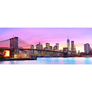 Glasmalerei 60x160 cm Skyline in Amerika