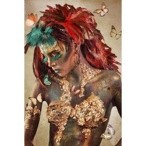 Glasschilderij 110x160 cm  Butterfly woman