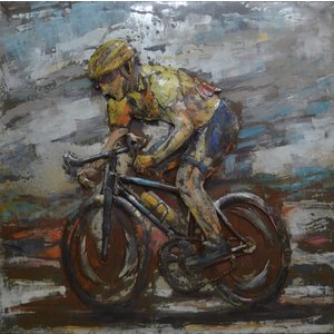 Metal 3d painting Yellow jersey racing bike