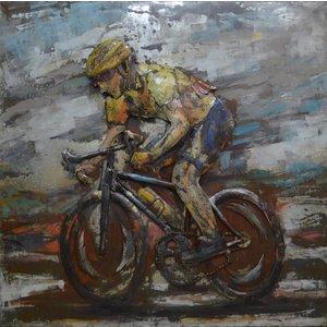 Metalen 3d schilderij Gele trui racefiets