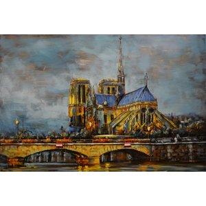 Metalen 3d schilderij Yellow church