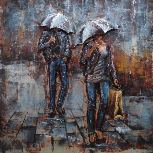 Metalen schilderij 3d In the rain