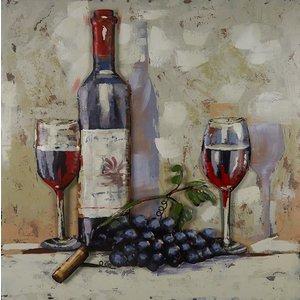 Metalen 3d schilderij Rode wijn
