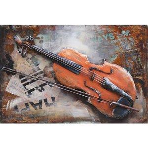 Metalen 3d schilderij Viool 40x60 cm.