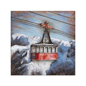 Metalen 3d schilderij Skilift 60x60 cm.