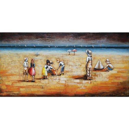 Metalen 3d schilderij Spelen op het strand