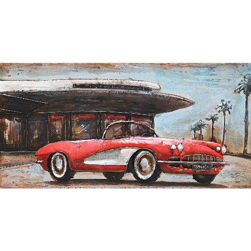 Metalen 3d schilderij Corvette