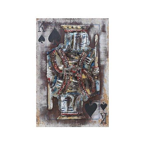Metalen 3d schilderij Koning kaartspel