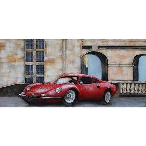 Metalen 3d schilderij Rode sportwagen 60x140 cm.