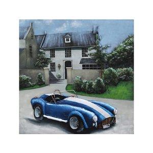 Metalen 3d schilderij Blauwe sportwagen
