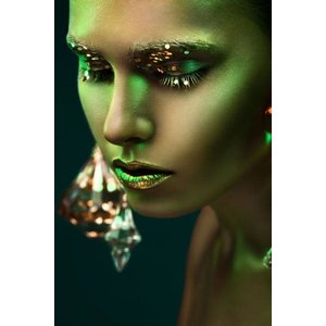 Glasschilderij Vrouwen Gezicht 80x120 cm Green woman