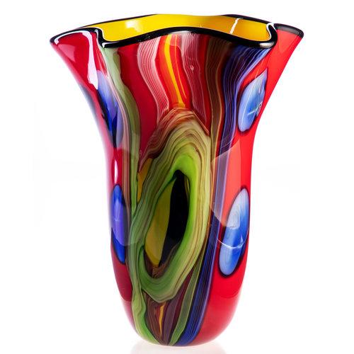 Glass vase red 34 cm high.