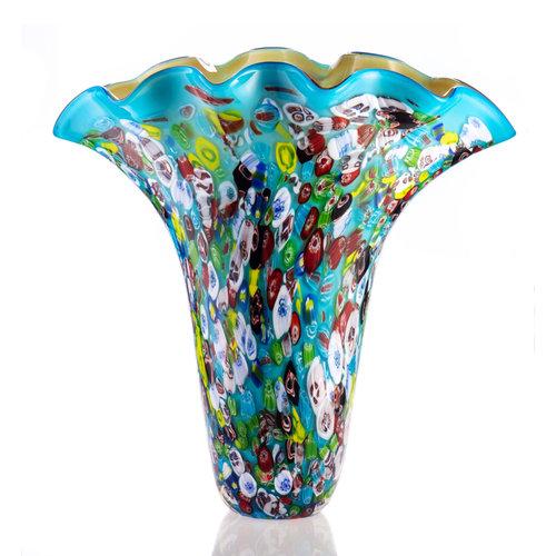Glasvaas turquoise 46 cm hoog