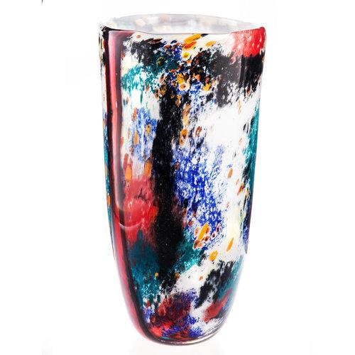 Glazen hoge vaas 38 cm.