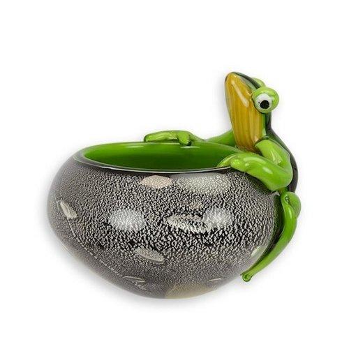 Glazen pot met kikker