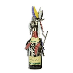 Wijnfleshouder Indiaan gekleurd