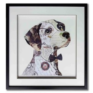 Paper Art Dog with bow 60x60 cm.