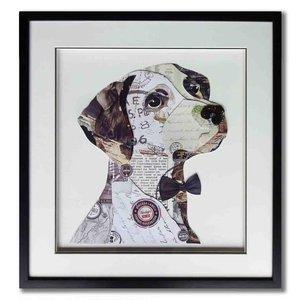 Schilderij Paper Art Hond met strikje 60x60 cm.