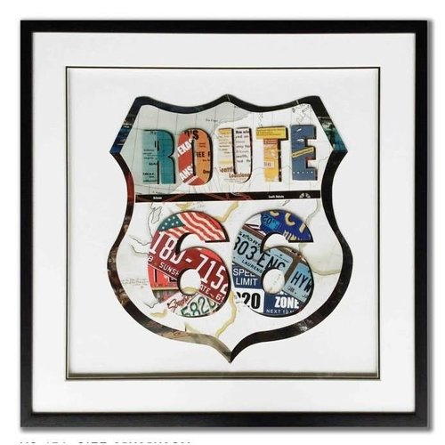 Schilderij Paper Art Route 66 65x65 cm.
