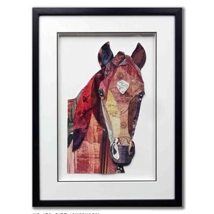 Papierkunst Pferdekopf 43x58 cm.