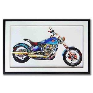 Papierkunst Motor Blau 91x58 cm.