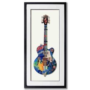 Paper Art Gitaar Blauw 50x100 cm.