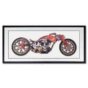 Schilderij Paper Art Motor Red 130x65 cm.