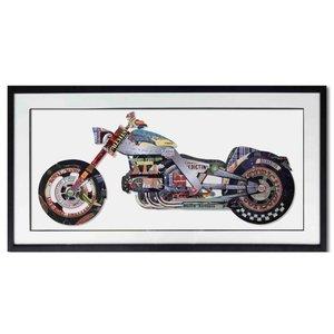Schilderij Paper Art Motor 130x65 cm.