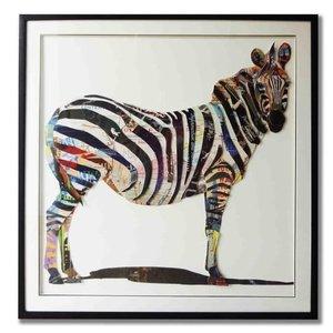 Schilderij Paper Art Zebra 2 105x105 cm.