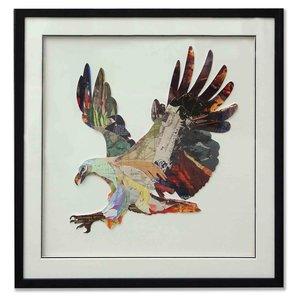 Schilderij Paper Art Adelaar 75x75 cm.