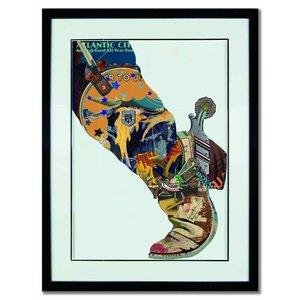 Schilderij Paper Art Cowboy laars 80x60 cm.