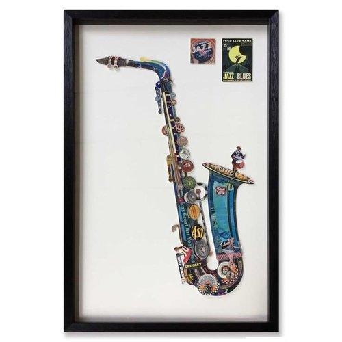 Paper Art Saxophone Blue 90x60 cm.