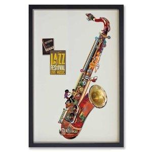 Papierkunst Saxophon Rot 60x90 cm.