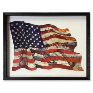 Papierkunst Flagge USA 82x64 cm.
