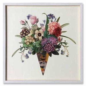Schilderij Paper Art Bloemen 65x65 cm.