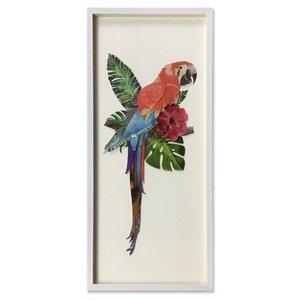 Papierkunst Papagei 90x40 cm.