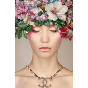 Glass print Chanel flower woman