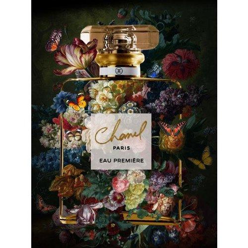 Glass painting Chanel flower bottle 2